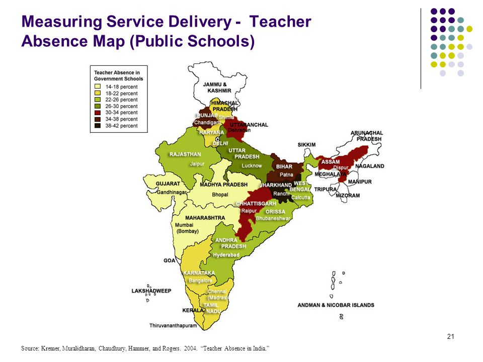 Measuring Service Delivery - Teacher Absence Map (Public Schools)