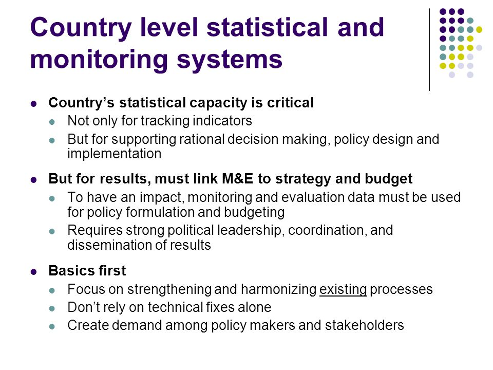 Country level statistical and monitoring systems