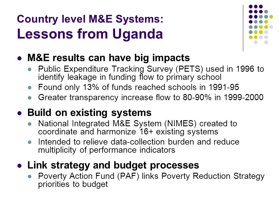 Country level M&E Systems: Lessons from Uganda