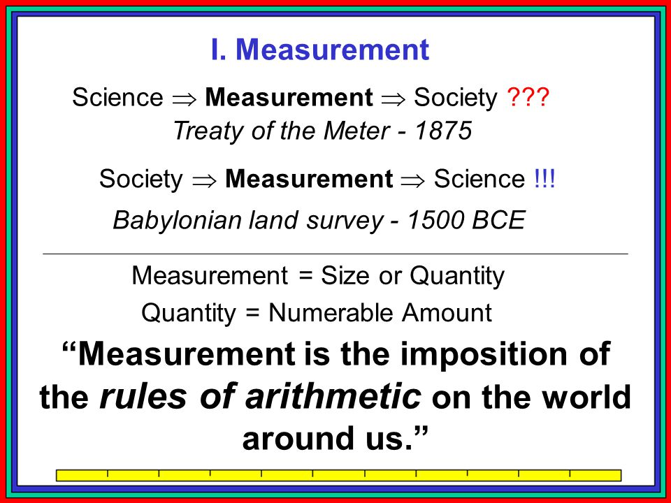 I. Measurement Science  Measurement  Society Treaty of the Meter - 1875. Society  Measurement  Science !!!