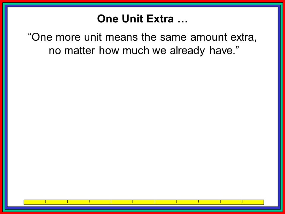 One more unit means the same amount extra,