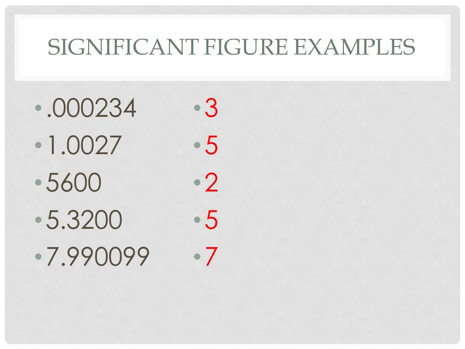 Significant Figure Examples