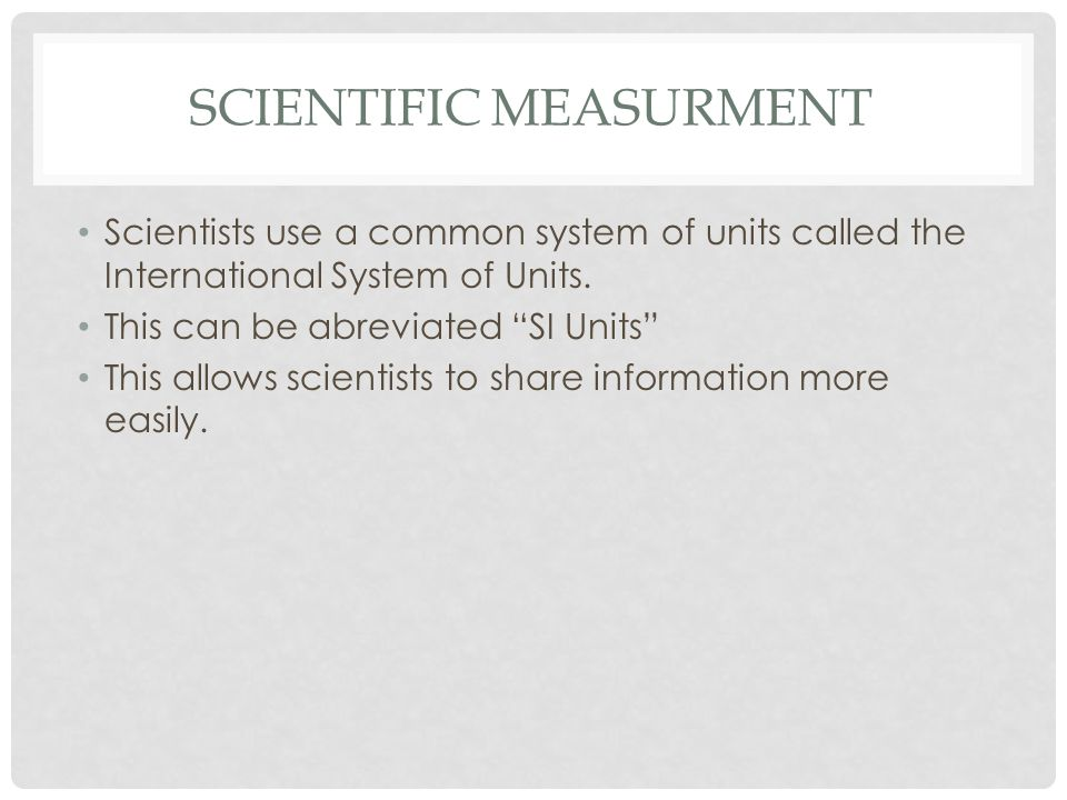 Scientific Measurment