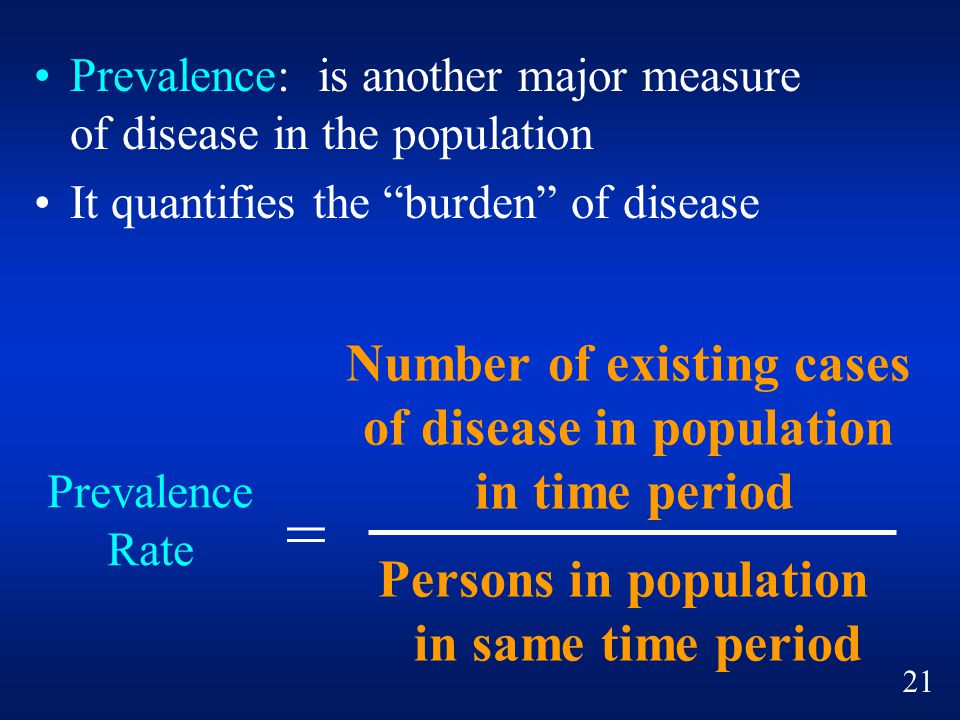 Number of existing cases of disease in population