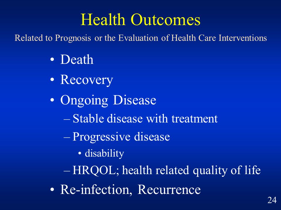 Health Outcomes Death Recovery Ongoing Disease
