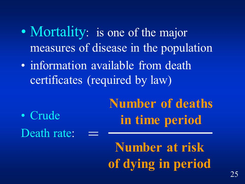 = Mortality: is one of the major measures of disease in the population