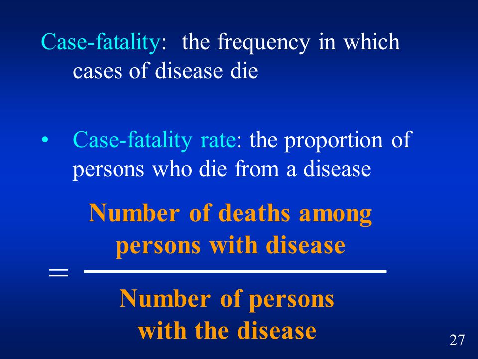 = Number of deaths among persons with disease Number of persons