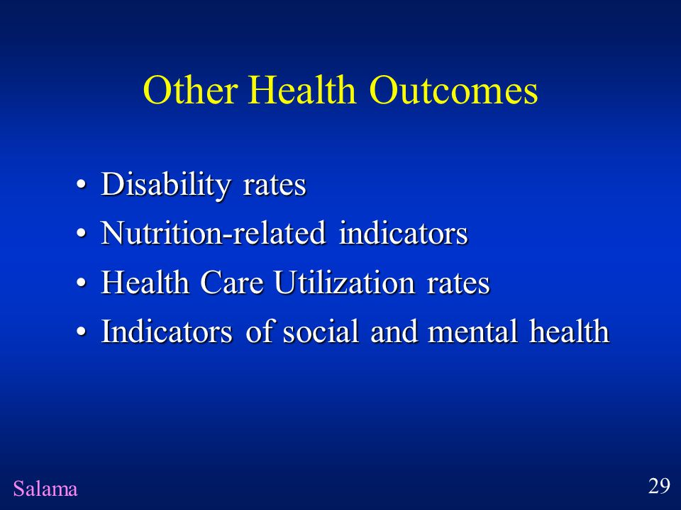 Other Health Outcomes Disability rates Nutrition-related indicators