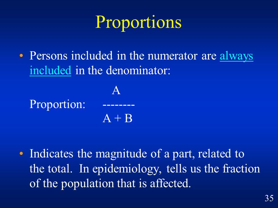 Proportions Persons included in the numerator are always included in the denominator: A. Proportion: --------