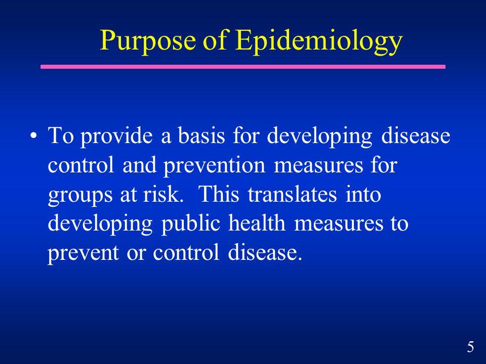 Purpose of Epidemiology