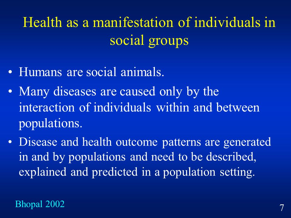 Health as a manifestation of individuals in social groups