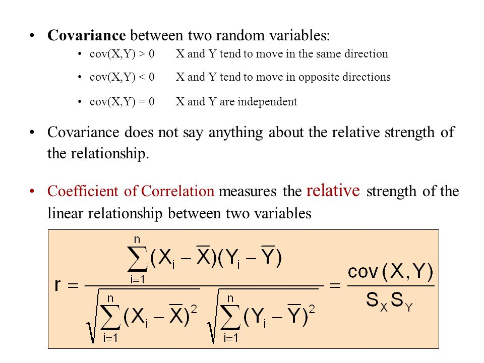 Covariance between two random variables: