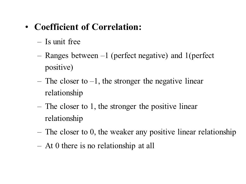 Coefficient of Correlation:
