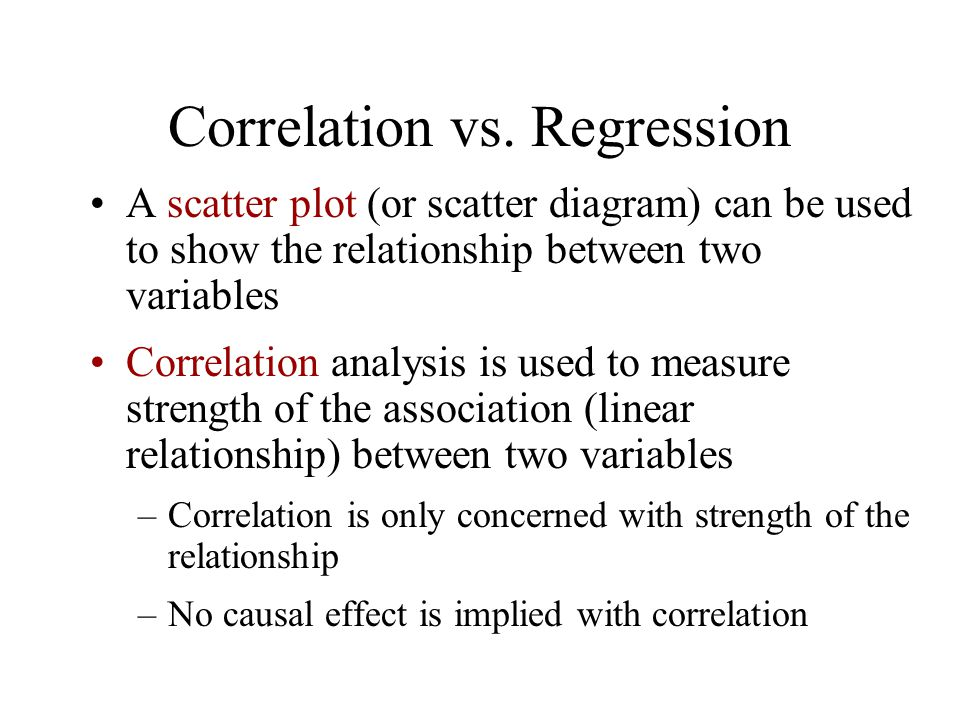 Correlation vs. Regression