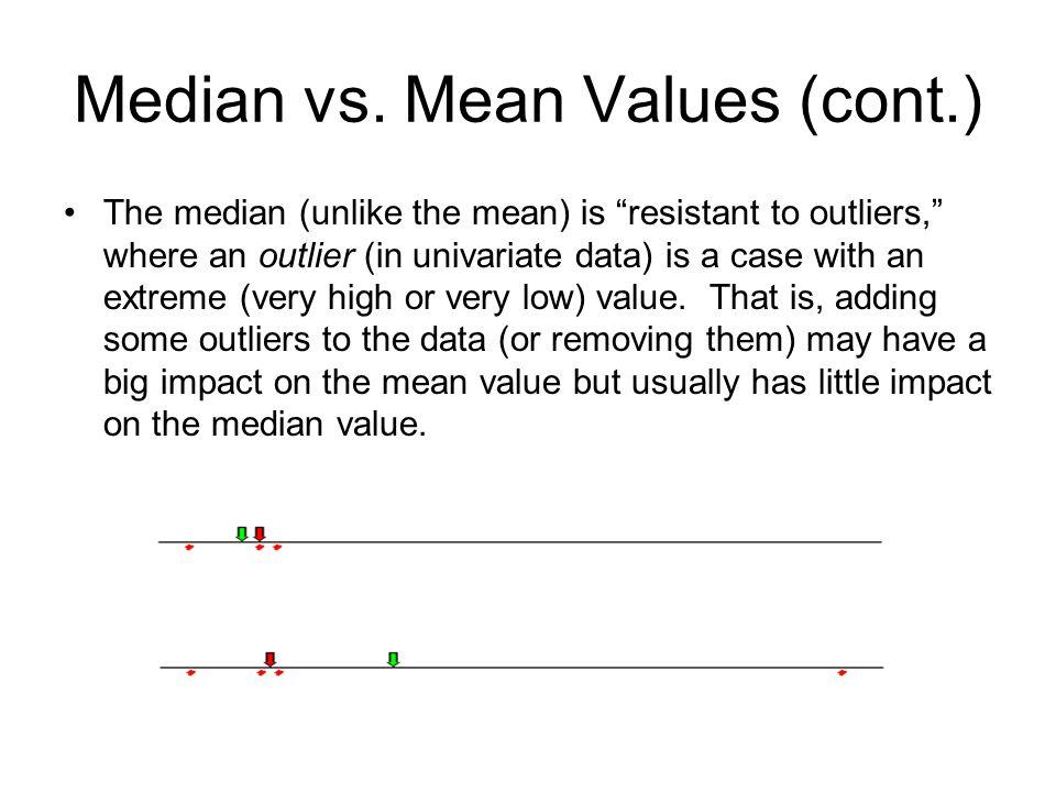 Median vs. Mean Values (cont.)