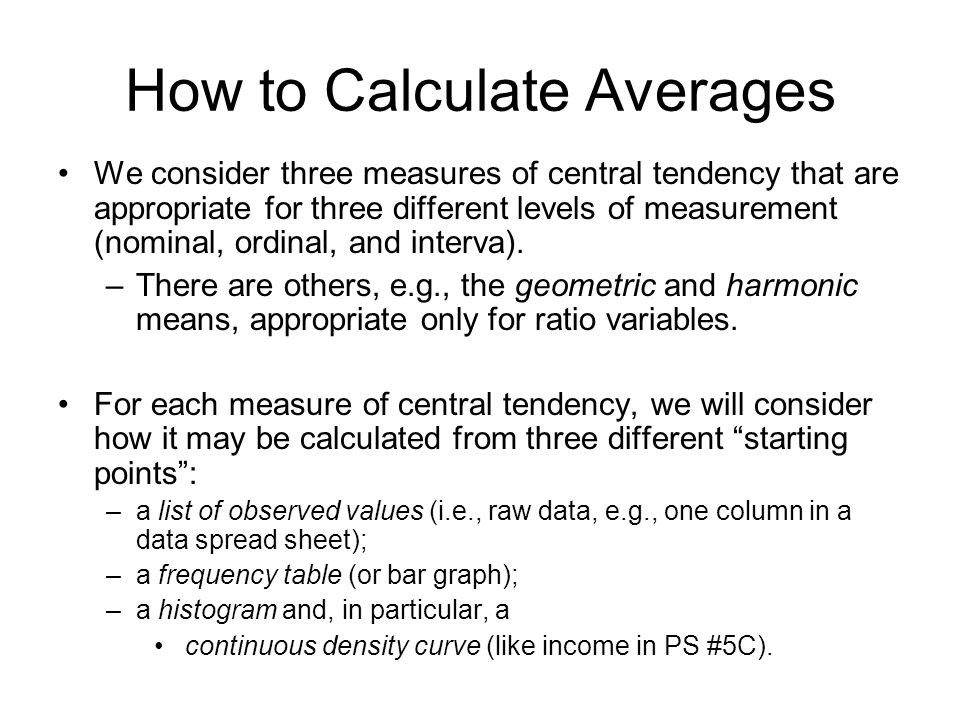 How to Calculate Averages