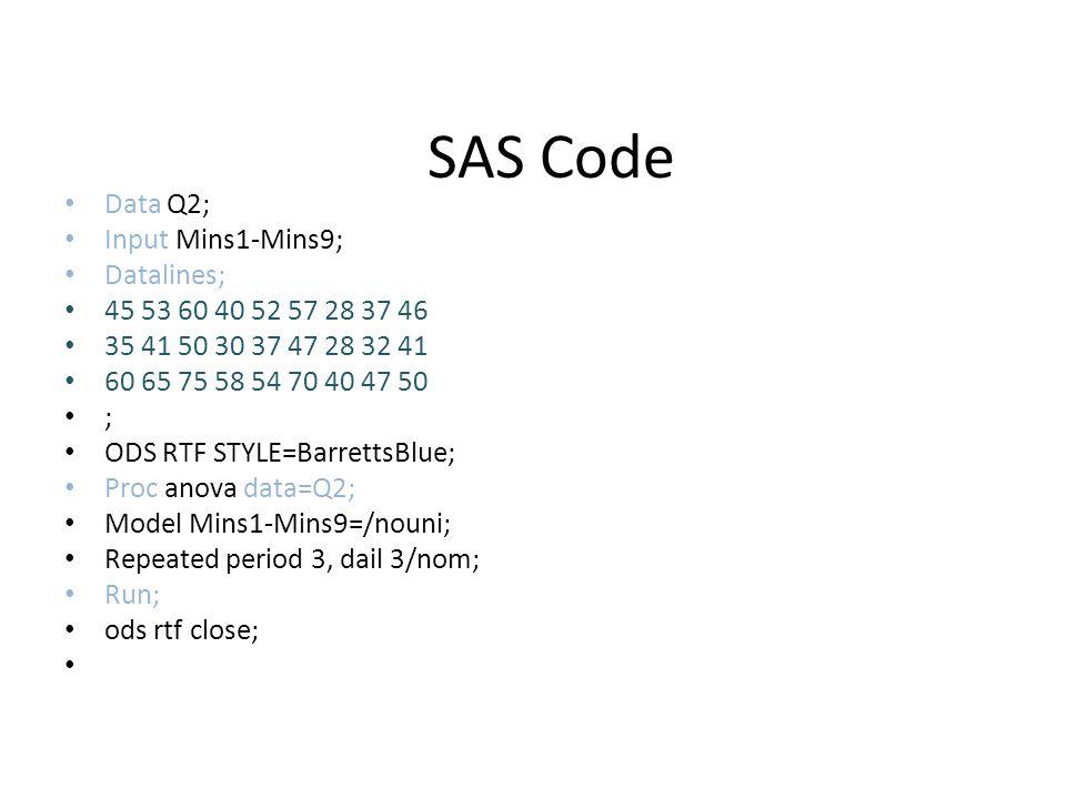 SAS Code Data Q2; Input Mins1-Mins9; Datalines;