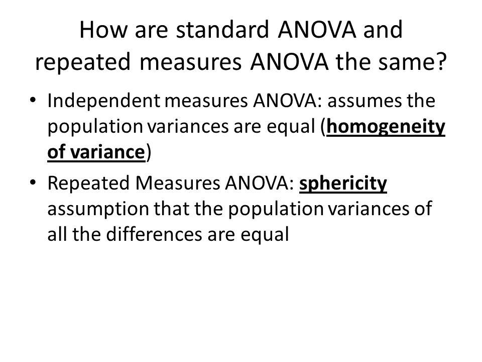 How are standard ANOVA and repeated measures ANOVA the same
