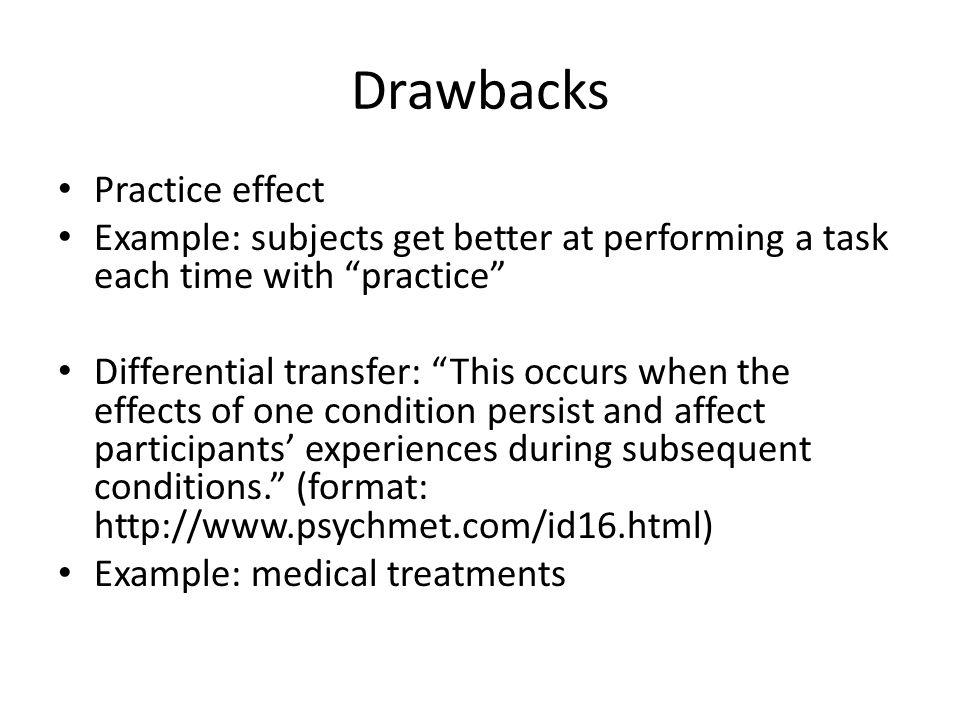 Drawbacks Practice effect