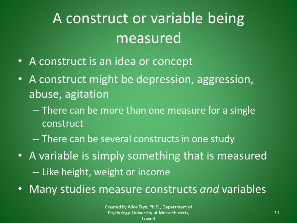 A construct or variable being measured