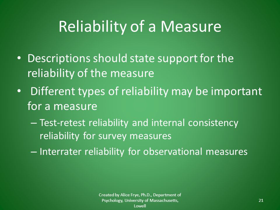 Reliability of a Measure