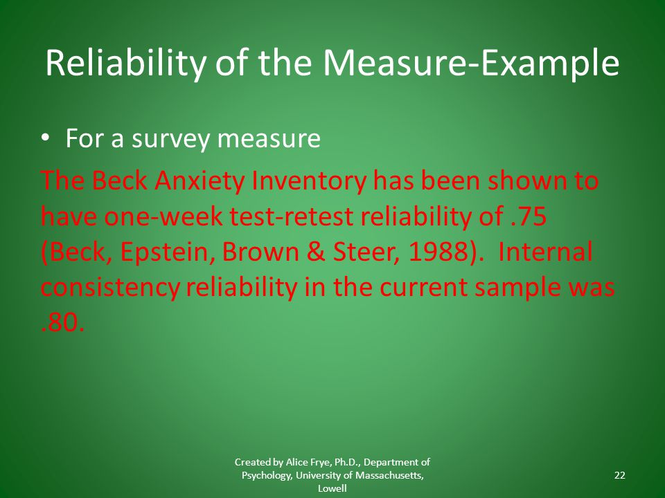Reliability of the Measure-Example