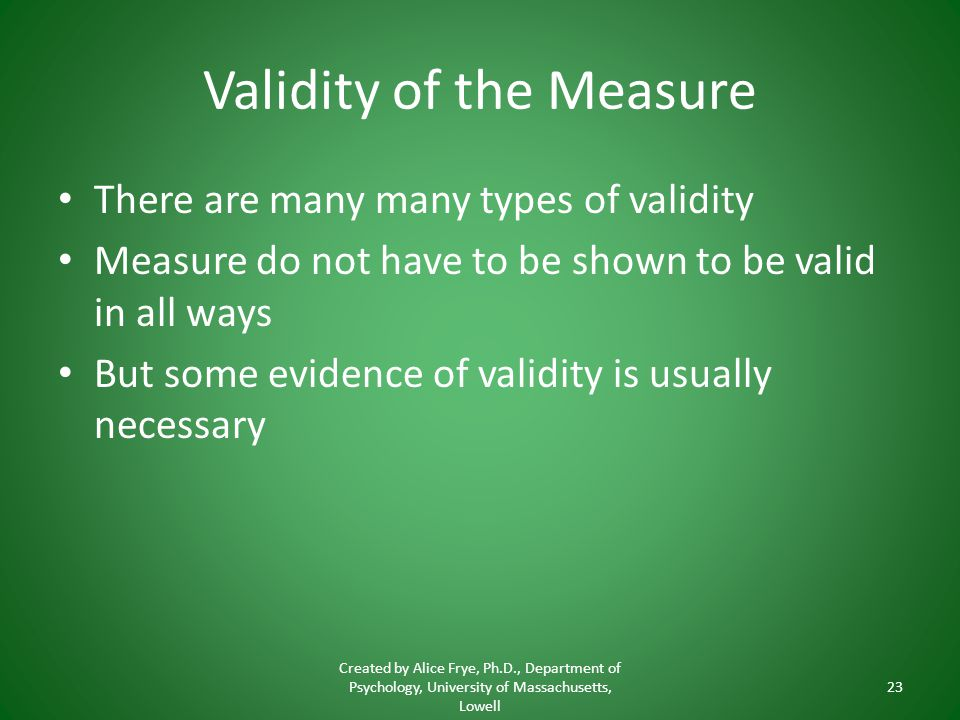 Validity of the Measure