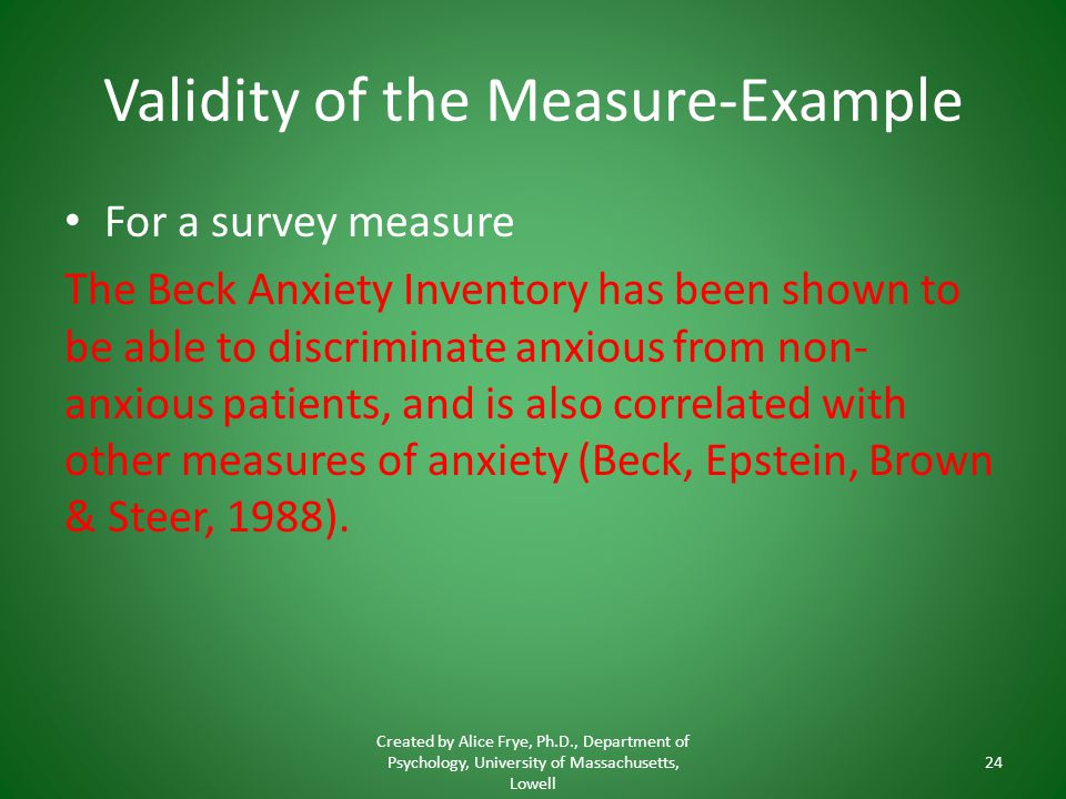 Validity of the Measure-Example