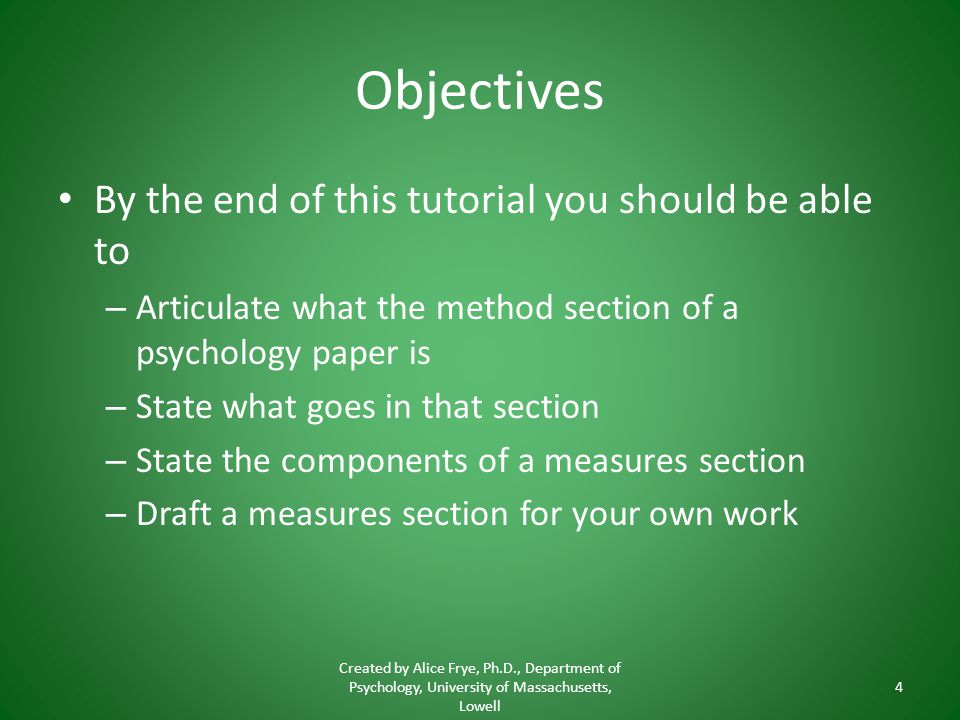 Objectives By the end of this tutorial you should be able to