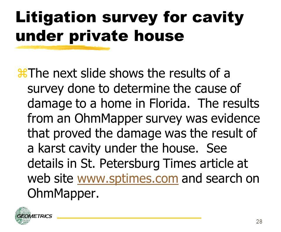 Litigation survey for cavity under private house