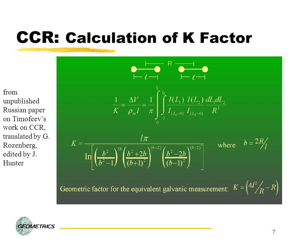 CCR: Calculation of K Factor