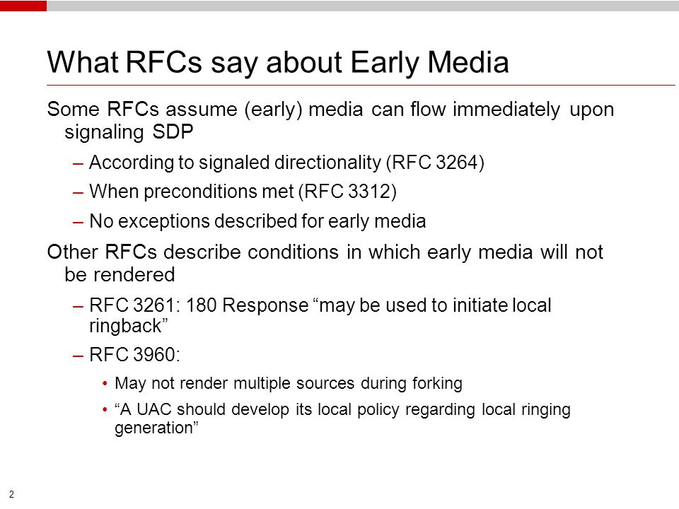 What RFCs say about Early Media