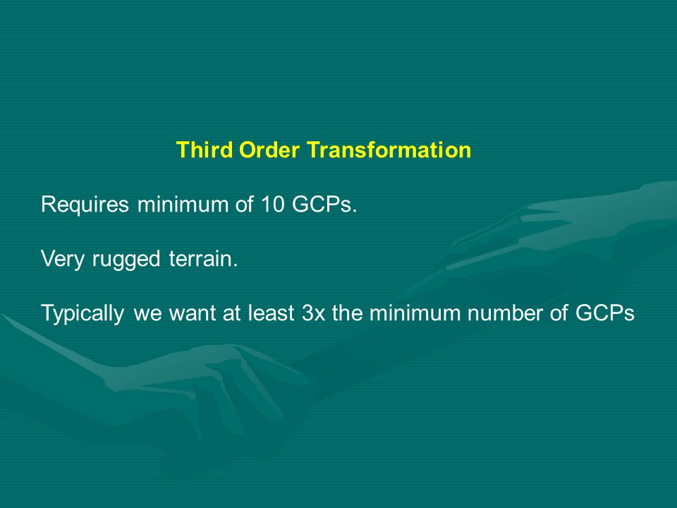 Third Order Transformation Requires minimum of 10 GCPs.