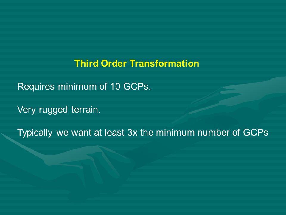 Third Order Transformation Requires minimum of 10 GCPs.