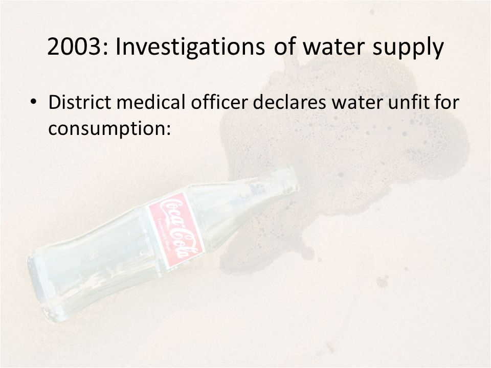 2003: Investigations of water supply