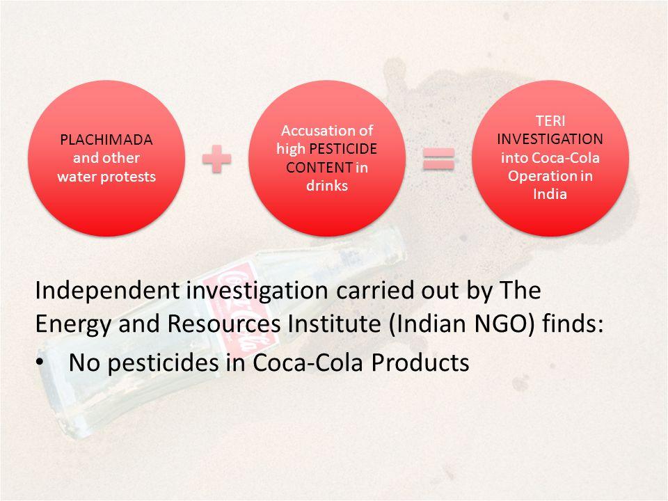 No pesticides in Coca-Cola Products