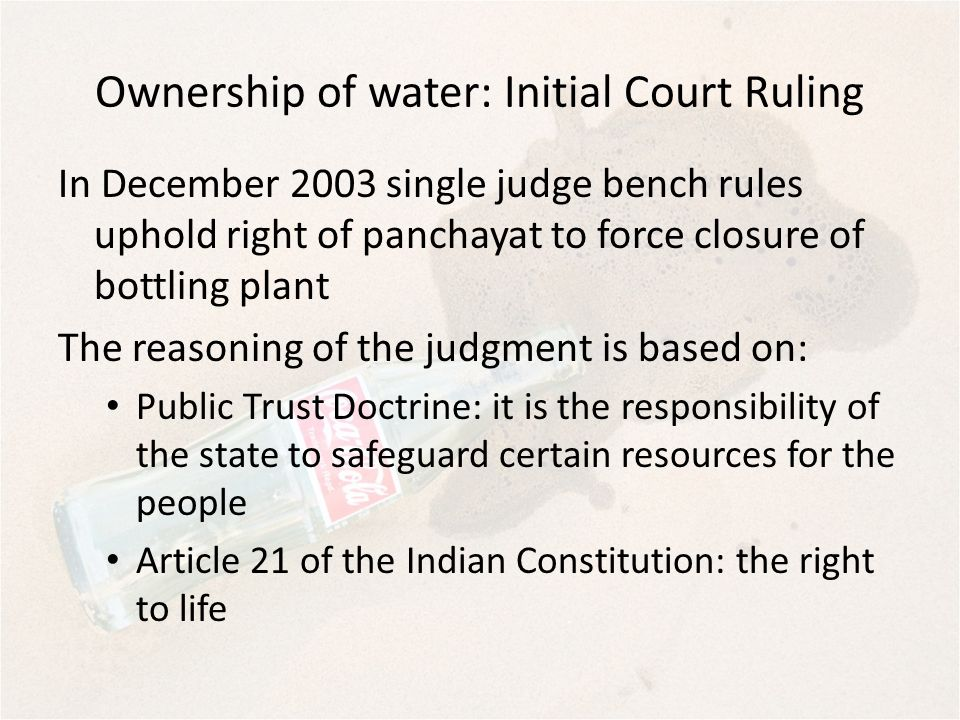 Ownership of water: Initial Court Ruling