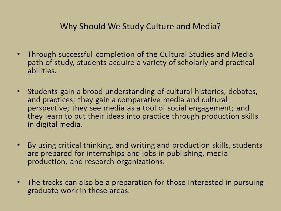 Why Should We Study Culture and Media