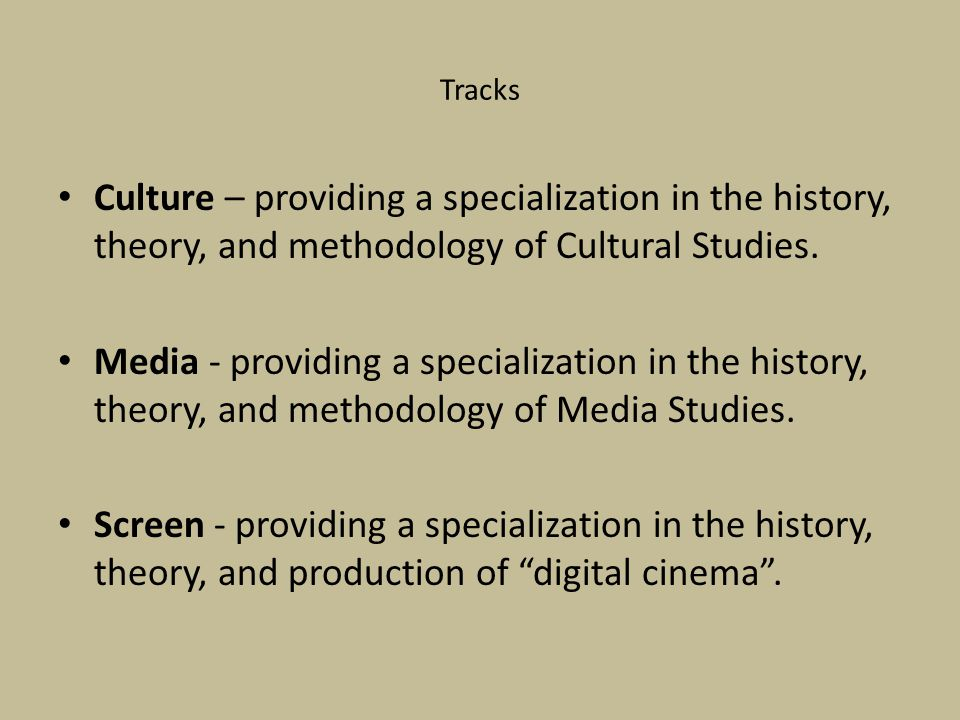 Tracks Culture – providing a specialization in the history, theory, and methodology of Cultural Studies.