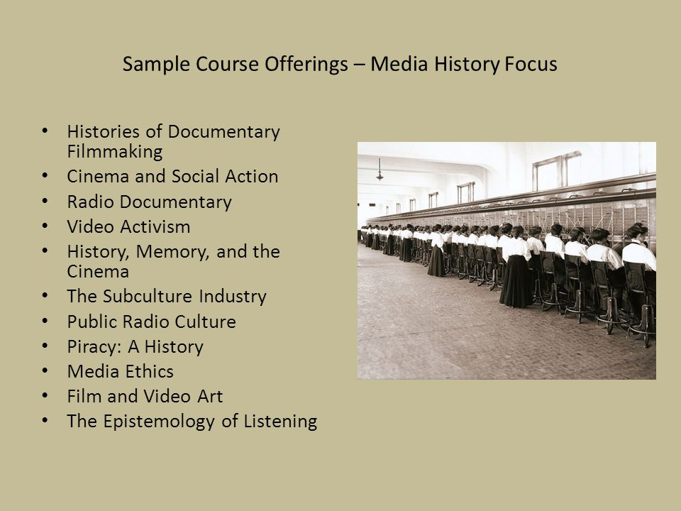 Sample Course Offerings – Media History Focus