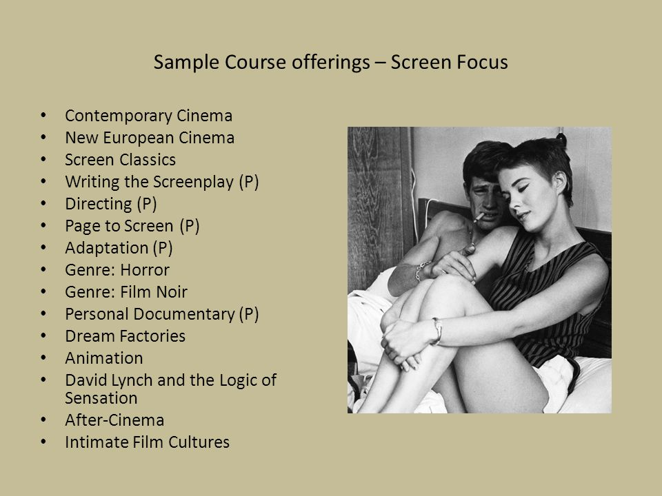 Sample Course offerings – Screen Focus