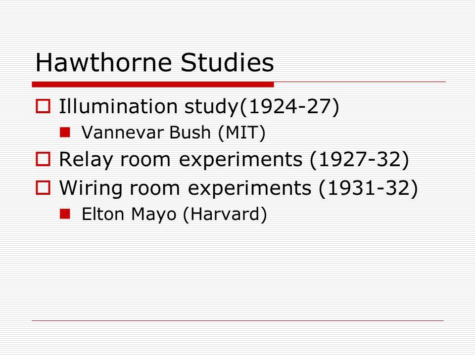 Hawthorne Studies Illumination study(1924-27)