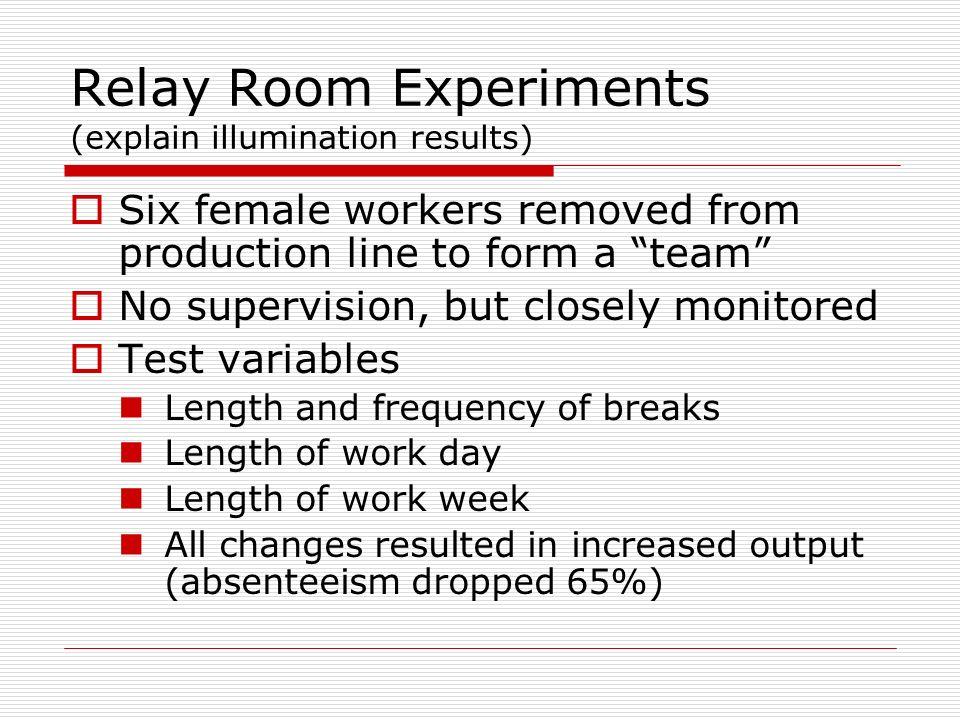 Relay Room Experiments (explain illumination results)