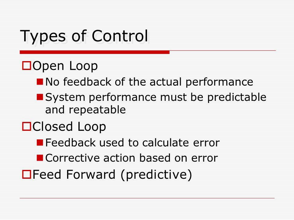 Types of Control Open Loop Closed Loop Feed Forward (predictive)
