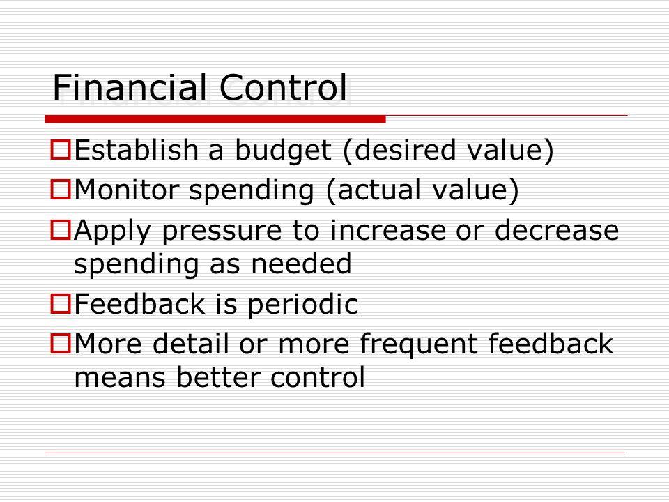 Financial Control Establish a budget (desired value)