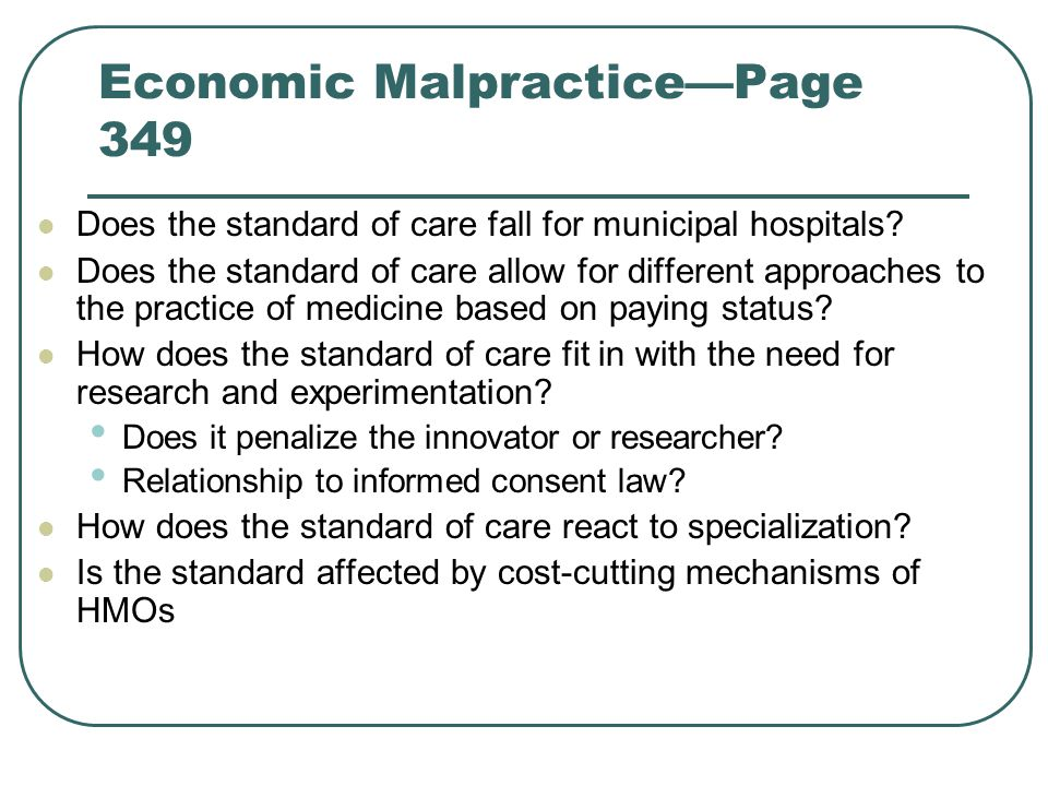Economic Malpractice—Page 349