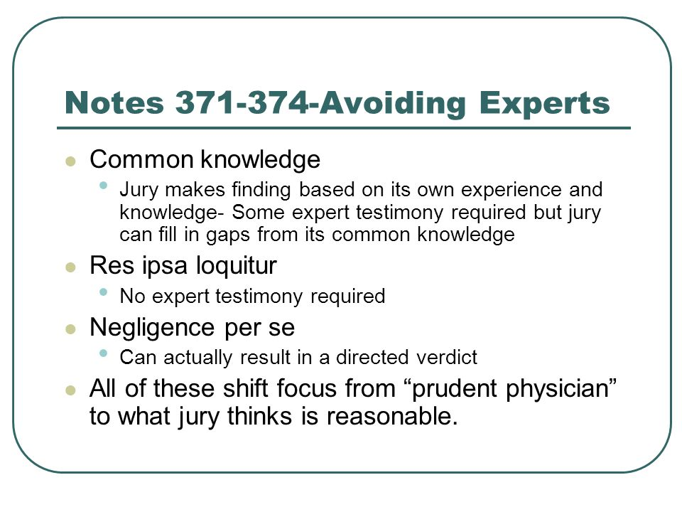 Notes Avoiding Experts