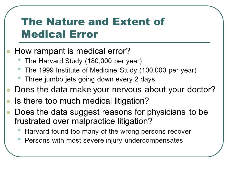 The Nature and Extent of Medical Error