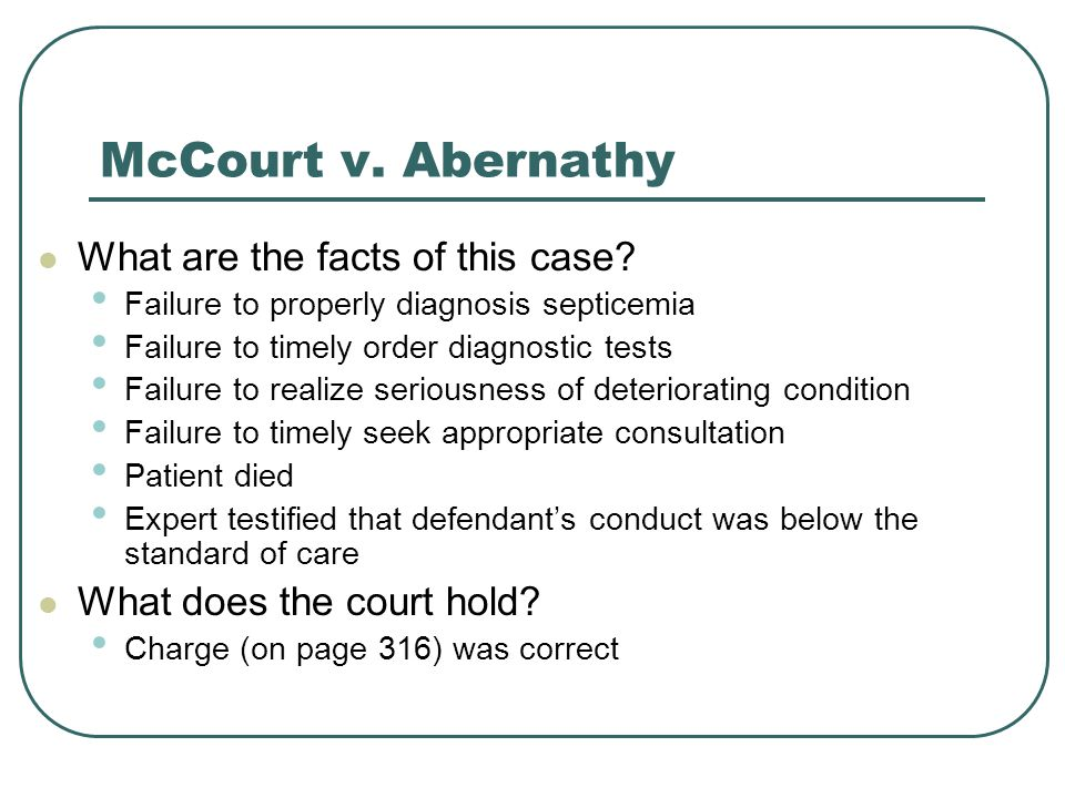 McCourt v. Abernathy What are the facts of this case