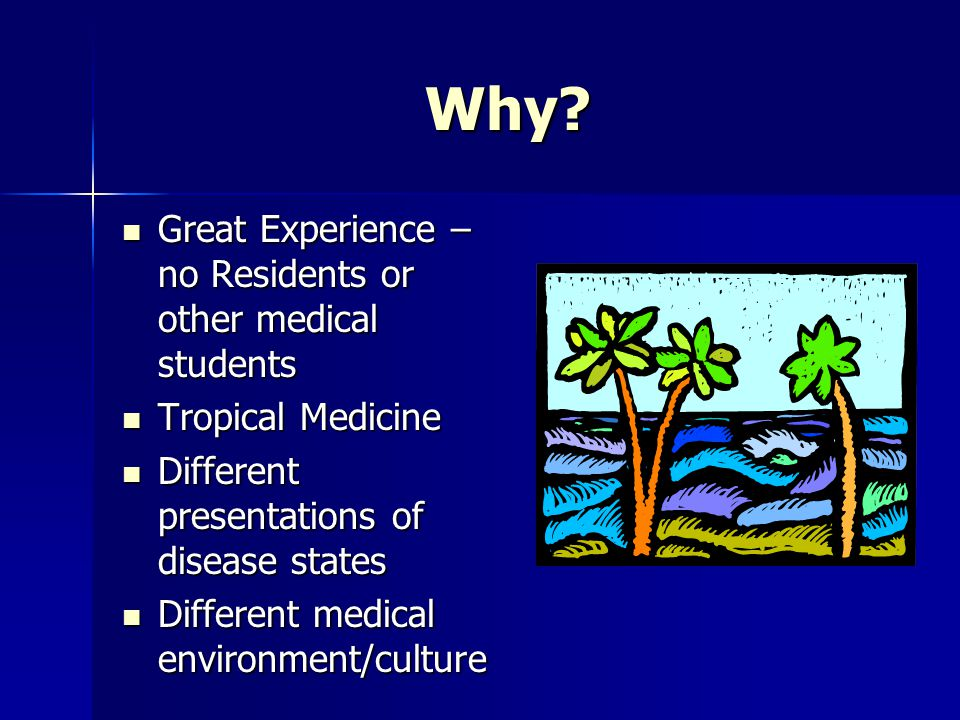 Why Great Experience – no Residents or other medical students